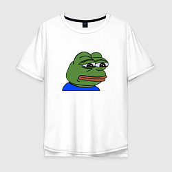 Мужская удлиненная футболка с принтом Sad frog, цвет: белый, артикул: 10097153005753 — фото 1