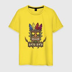 Футболка хлопковая мужская Aku-Aku (Crash Bandicoot) цвета желтый — фото 1