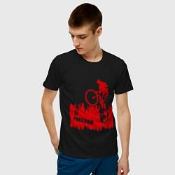 Футболка хлопковая мужская Велосипед цвета черный — фото 2