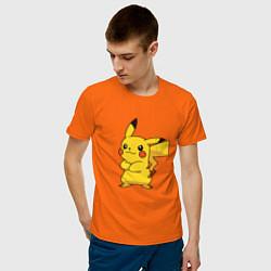 Футболка хлопковая мужская Злой Пикачу цвета оранжевый — фото 2