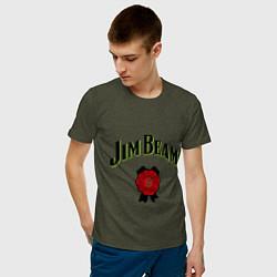 Футболка хлопковая мужская Jim Beam цвета меланж-хаки — фото 2
