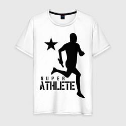 Мужская хлопковая футболка с принтом Лёгкая атлетика, цвет: белый, артикул: 10010562100001 — фото 1