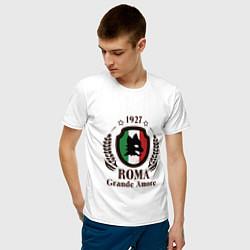Футболка хлопковая мужская AS Roma: Grande Amore цвета белый — фото 2