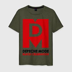 Футболка хлопковая мужская Depeche Mode: Black Celebration цвета меланж-хаки — фото 1