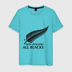 Футболка хлопковая мужская New Zeland: All blacks цвета бирюзовый — фото 1
