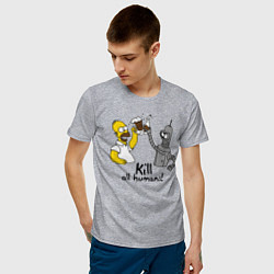 Футболка хлопковая мужская Kill all humans цвета меланж — фото 2