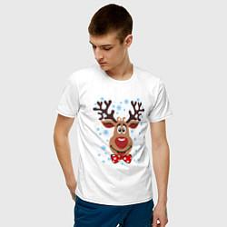 Футболка хлопковая мужская Рождественский олень цвета белый — фото 2