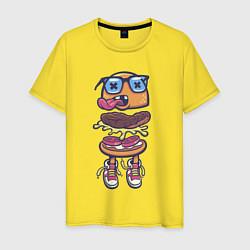 Футболка хлопковая мужская Гамбургер цвета желтый — фото 1