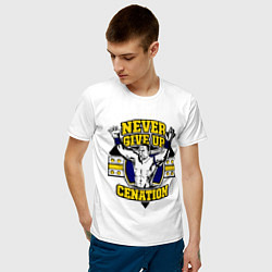 Футболка хлопковая мужская Never Give Up: Cenation цвета белый — фото 2