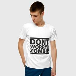 Мужская хлопковая футболка с принтом Dont worry be zombie, цвет: белый, артикул: 10012549500001 — фото 2