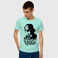 Мужская хлопковая футболка с принтом 2pac, цвет: мятный, артикул: 10012602900001 — фото 2