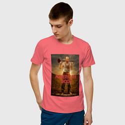Футболка хлопковая мужская American Gods: Czernobog цвета коралловый — фото 2