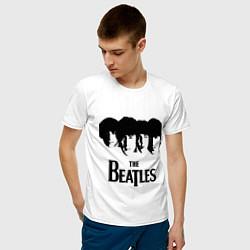 Футболка хлопковая мужская The Beatles: Faces цвета белый — фото 2