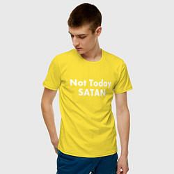 Футболка хлопковая мужская Not Today Satan цвета желтый — фото 2