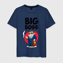 Футболка хлопковая мужская Big Boss / Начальник цвета тёмно-синий — фото 1