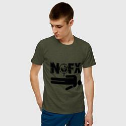 Футболка хлопковая мужская NOFX crushman цвета меланж-хаки — фото 2