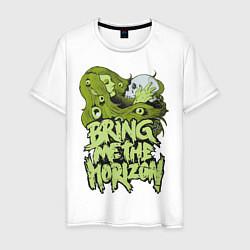 Мужская хлопковая футболка с принтом Bring Me The Horizon: Green Girl, цвет: белый, артикул: 10014268100001 — фото 1