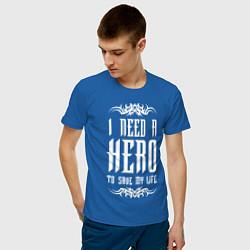 Мужская хлопковая футболка с принтом Skillet: I need a Hero, цвет: синий, артикул: 10142813100001 — фото 2