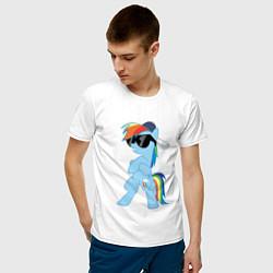 Футболка хлопковая мужская Крутая пони цвета белый — фото 2
