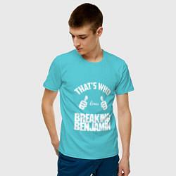Футболка хлопковая мужская That's Who Loves Breaking Benjamin цвета бирюзовый — фото 2