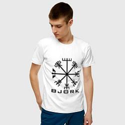 Футболка хлопковая мужская Bjork Rune цвета белый — фото 2