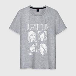 Футболка хлопковая мужская Led Zeppelin Band цвета меланж — фото 1