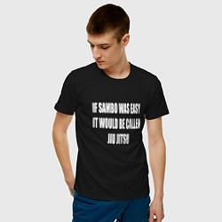 Футболка хлопковая мужская If Sambo Was Easy цвета черный — фото 2