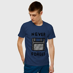Футболка хлопковая мужская Never Forget цвета тёмно-синий — фото 2