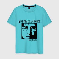 Футболка хлопковая мужская Give Peace a Chance цвета бирюзовый — фото 1