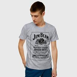 Футболка хлопковая мужская Jim Beam whiskey цвета меланж — фото 2