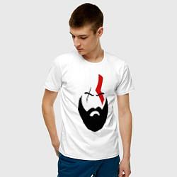 Футболка хлопковая мужская God of War: Kratos Face цвета белый — фото 2