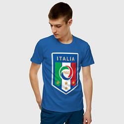 Мужская хлопковая футболка с принтом Italia FIGC, цвет: синий, артикул: 10153220900001 — фото 2