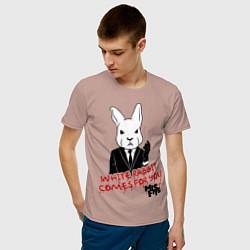 Футболка хлопковая мужская Misfits: White rabbit цвета пыльно-розовый — фото 2
