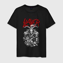 Мужская хлопковая футболка с принтом Slayer: Devil Goat, цвет: черный, артикул: 10156601900001 — фото 1