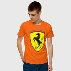 Футболка хлопковая мужская Ferrari SJ цвета оранжевый — фото 2