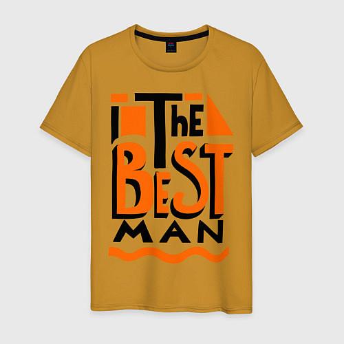 Мужская футболка The best man / Горчичный – фото 1