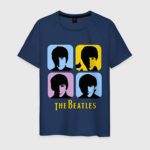 Мужская футболка The Beatles: pop-art / Тёмно-синий – фото 1
