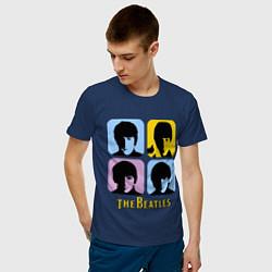 Мужская хлопковая футболка с принтом The Beatles: pop-art, цвет: тёмно-синий, артикул: 10015924700001 — фото 2