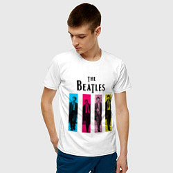 Футболка хлопковая мужская Walking Beatles цвета белый — фото 2