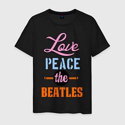 Футболка хлопковая мужская Love peace the Beatles цвета черный — фото 1