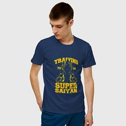 Футболка хлопковая мужская Super Saiyan Training цвета тёмно-синий — фото 2