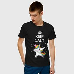Футболка хлопковая мужская Keep Calm & Dab Unicorn цвета черный — фото 2
