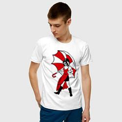 Футболка хлопковая мужская Umbrella Girl цвета белый — фото 2