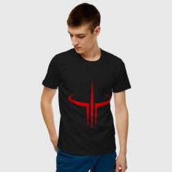 Футболка хлопковая мужская Quake logo цвета черный — фото 2