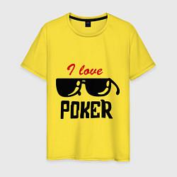 Футболка хлопковая мужская Я люблю покер цвета желтый — фото 1