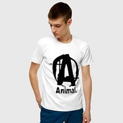 Футболка хлопковая мужская Animal Logo цвета белый — фото 2