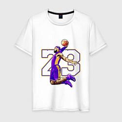 Мужская хлопковая футболка с принтом Леброн Джеймс, цвет: белый, артикул: 10169381700001 — фото 1