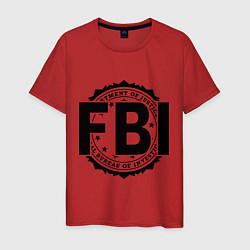 Футболка хлопковая мужская FBI Agency цвета красный — фото 1