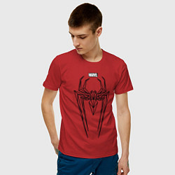 Футболка хлопковая мужская Black Spider-Man цвета красный — фото 2
