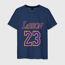 Мужская хлопковая футболка с принтом LeBron 23, цвет: тёмно-синий, артикул: 10172030500001 — фото 1